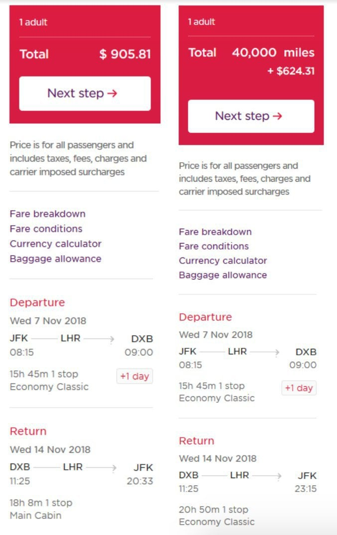 fees and points costs on Virgin Atlantic website
