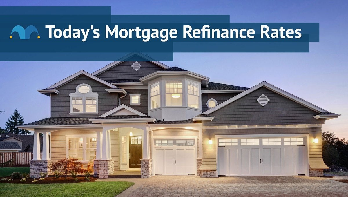 Large, well-lit, modern-style home with Today's Mortgage Refinance Rates graphic.
