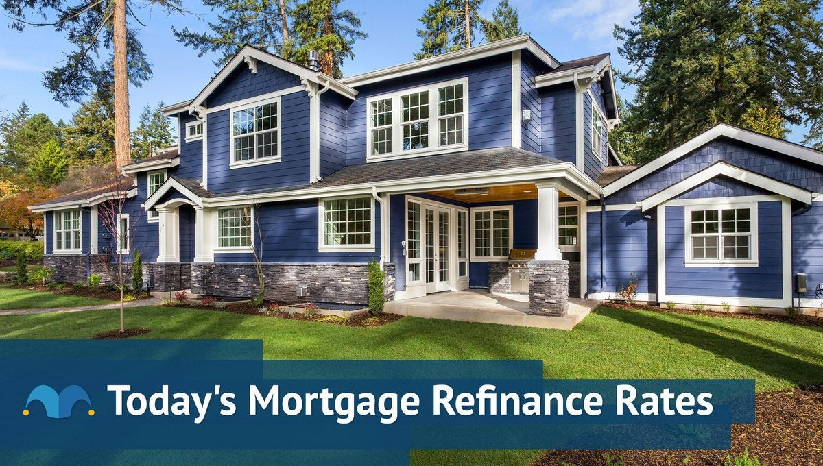 Large, modern-style home with Today's Mortgage Refinance Rates graphic.