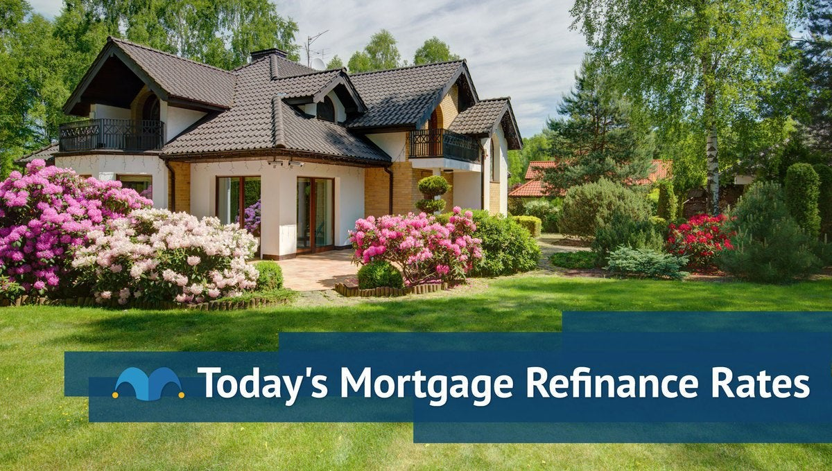 Large home surrounded by greenery with Today's Mortgage Refinance Rates graphic.