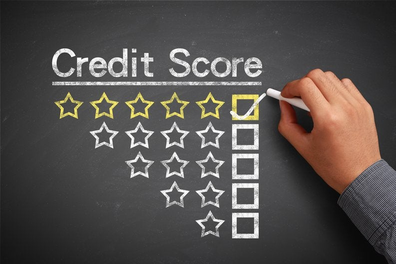 credit scores listed on chalkboard, with 5-star box checked