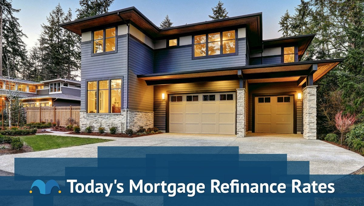 Large, modern home with Today's Mortgage Refinance Rates graphic.