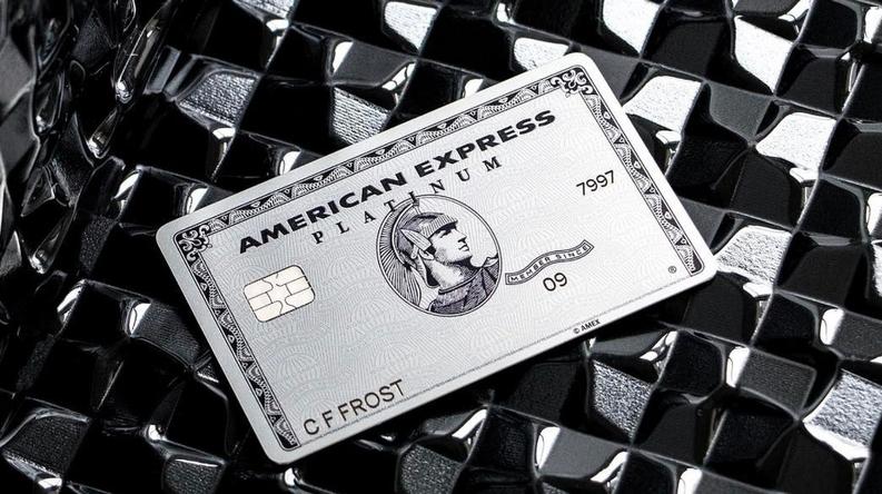 American Express Platinum metal credit card.