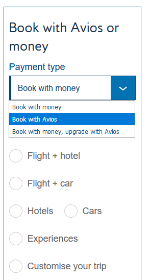 book with avios dropdown menu