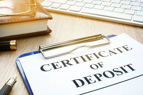 Certificate of deposit sign on a clipboard.