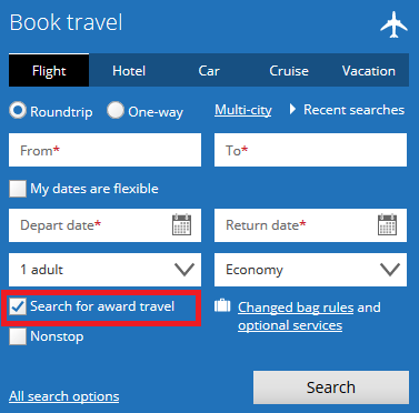 """searching for travel with """"award travel"""" filter selected"""