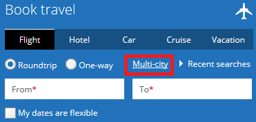 """booking travel with """"multi-city"""" filter selected"""