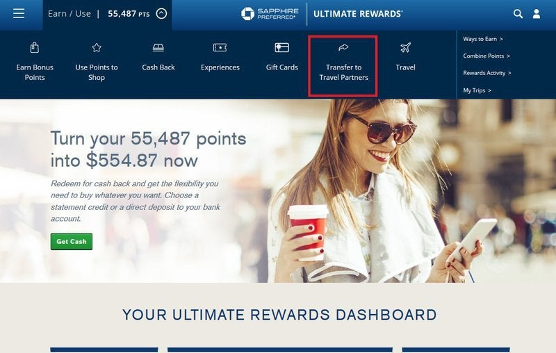 """Chase website with """"transfer to travel partners"""" link highlighted"""