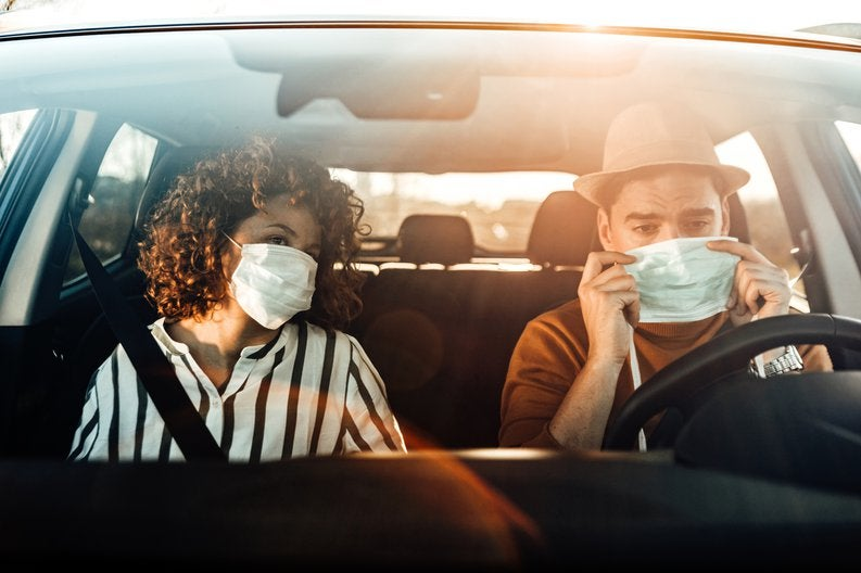 Couple In Car With Masks