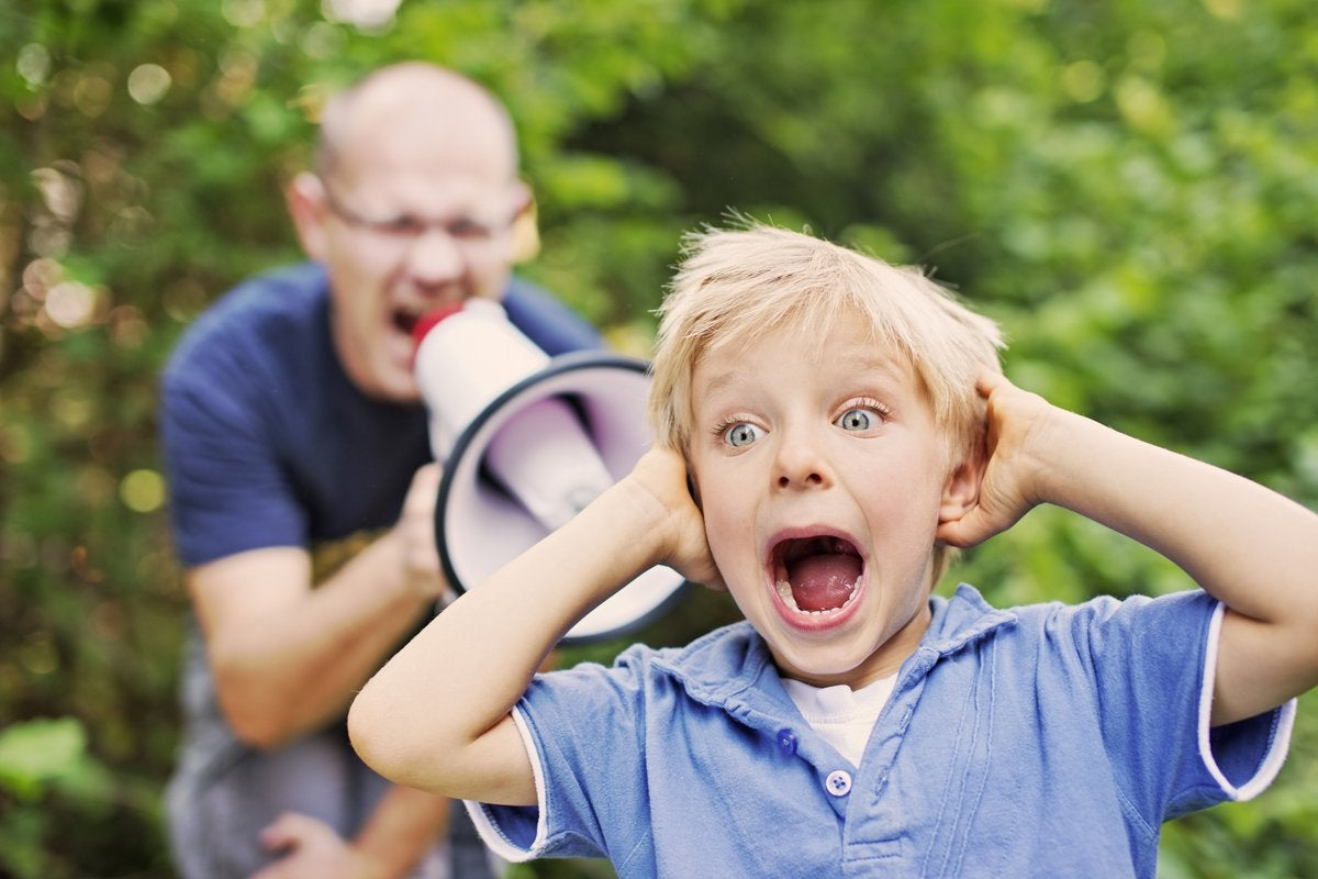 Dad Yelling At Kid Through Megaphone