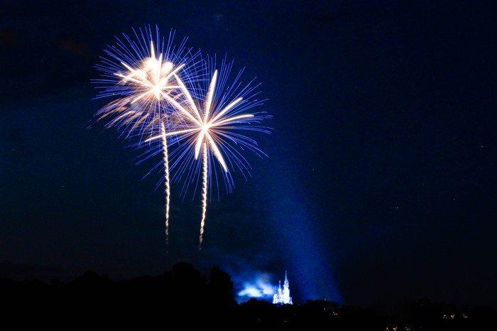 fireworks over Disney castle