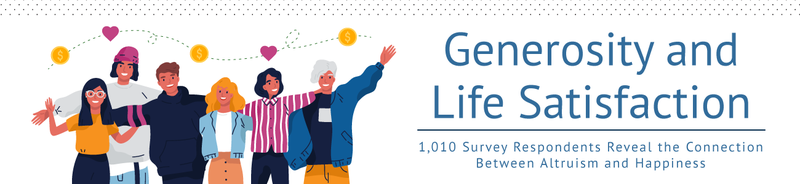 Graphic with generosity and life satisfaction text.