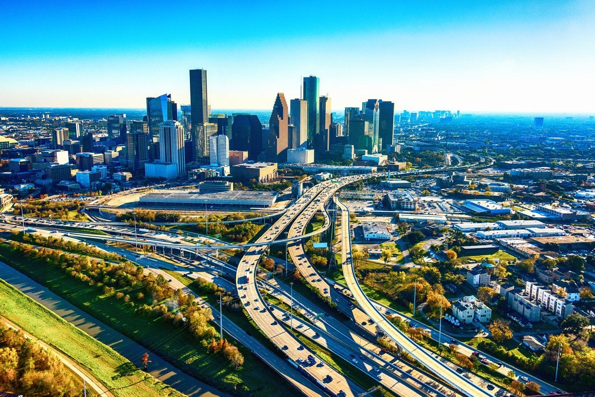 Panoramic view of highways leading toward the city of Houston.