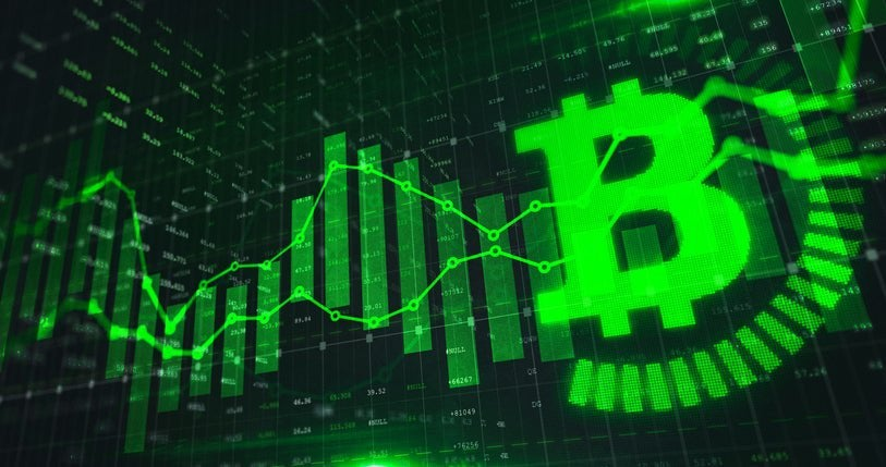 A generic Bitcoin trading graph in green color with the stock market.