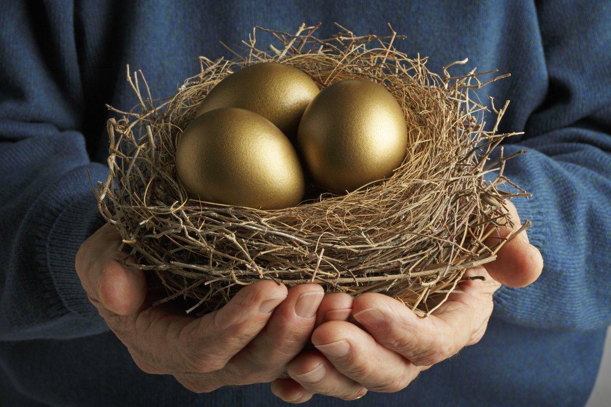 Pair of hands holding a bird's nest full of golden eggs.