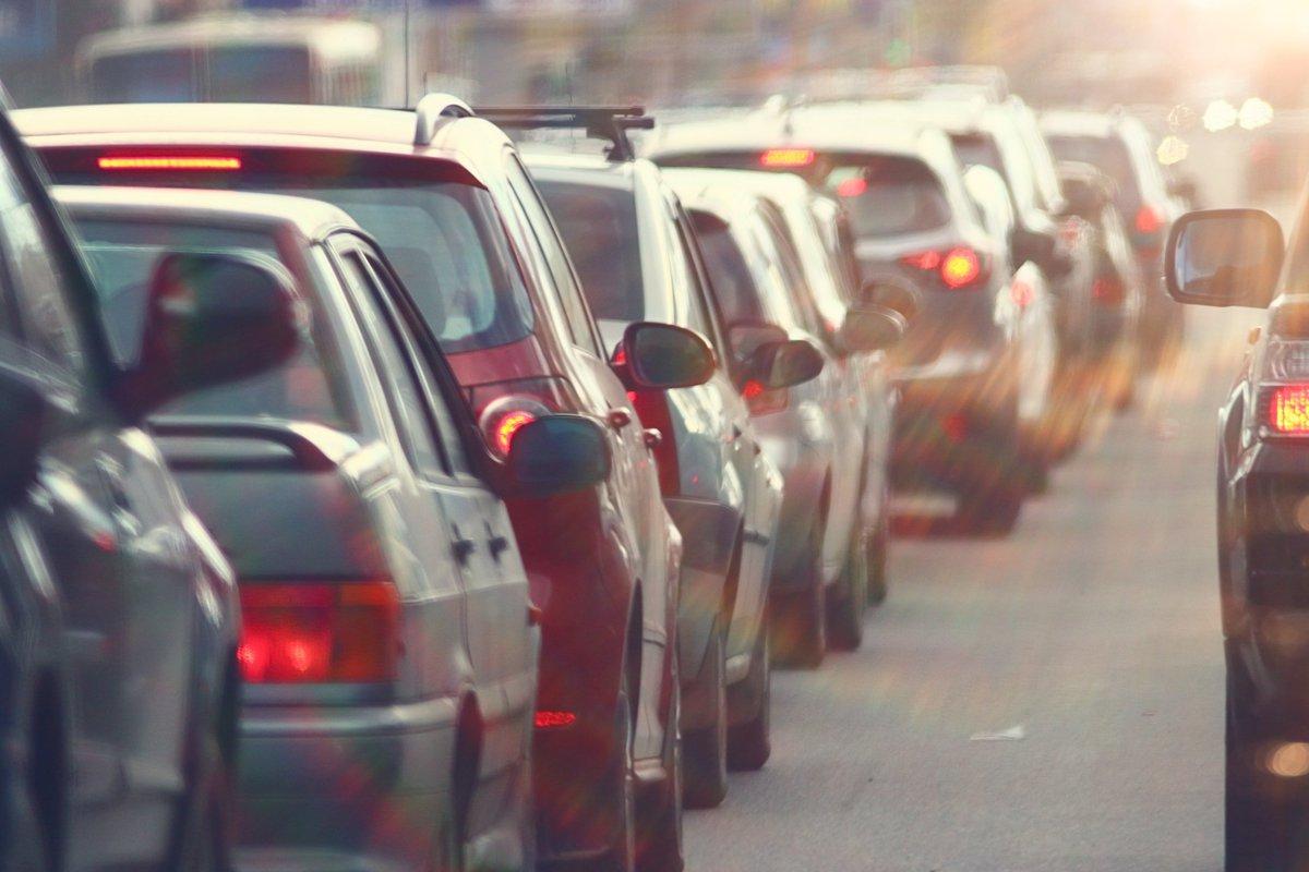 Bumper-to-bumper traffic.