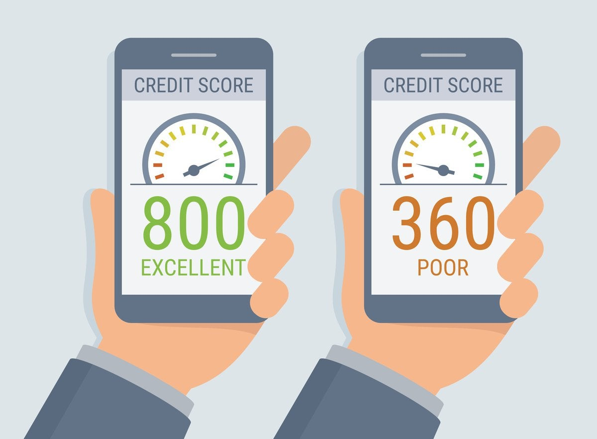 Two cell phones, one showing a credit score of 800 and the other showing a score of 360