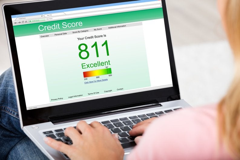 Computer screen showing credit score of 811