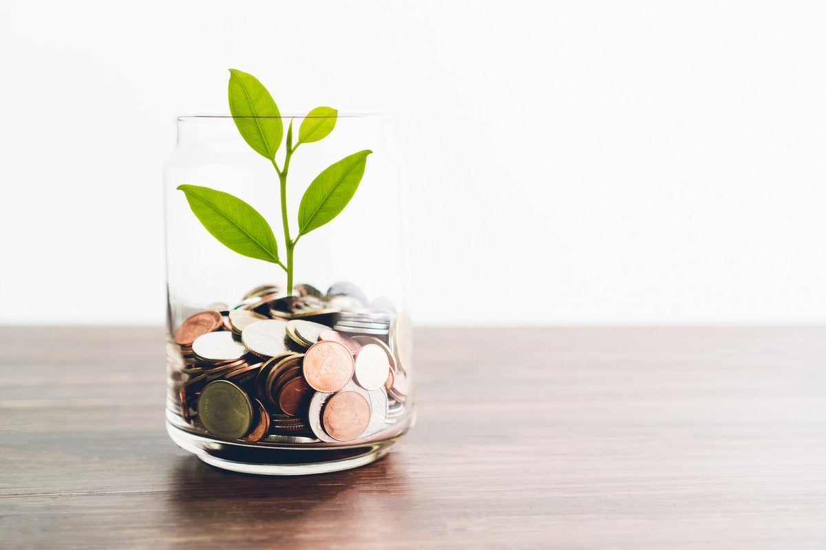 Glass with pile of coins and plant growing in it.