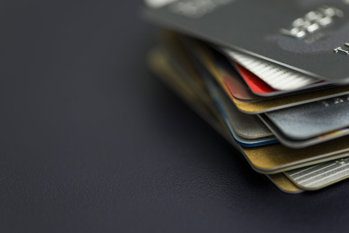Credit cards fanned out on a table