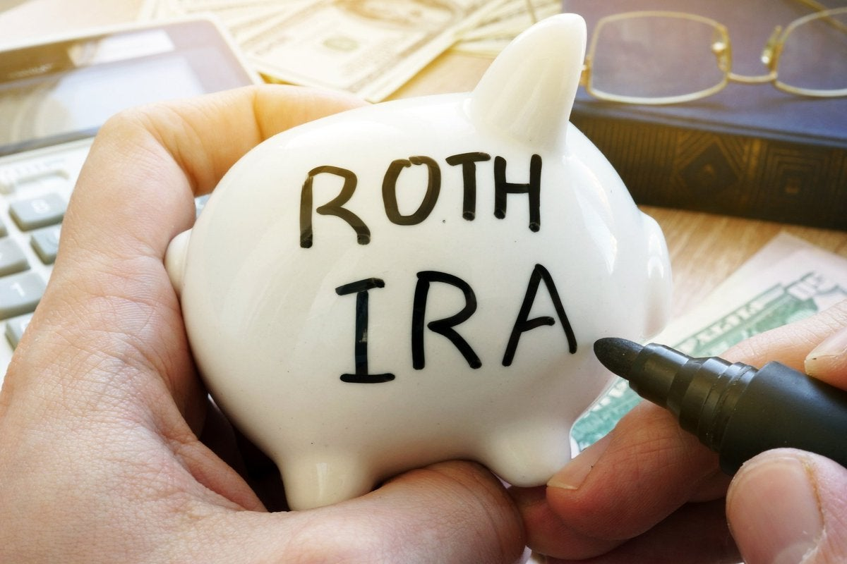 A piggy bank with the words ROTH IRA written on the side.