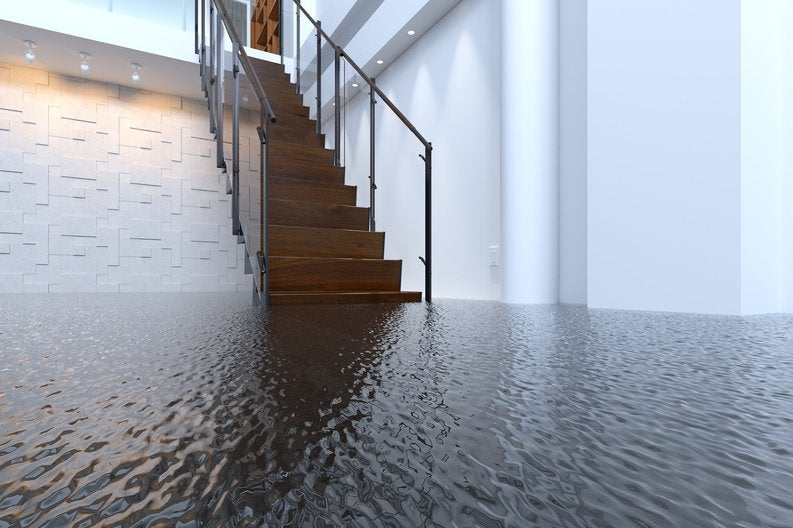 A stairway leading out of a flooded basement.