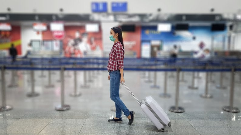 Girl In Mask At Airport