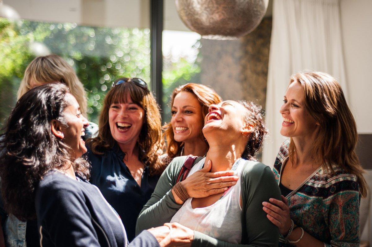 Group of women having an enjoyable interaction.