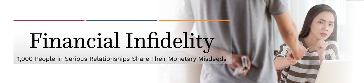 The words Financial Infidelity overlaid on a couple, with the man hiding money behind his back. Text: 1,000 People in Serious Relationships Share Their Monetary Misdeeds