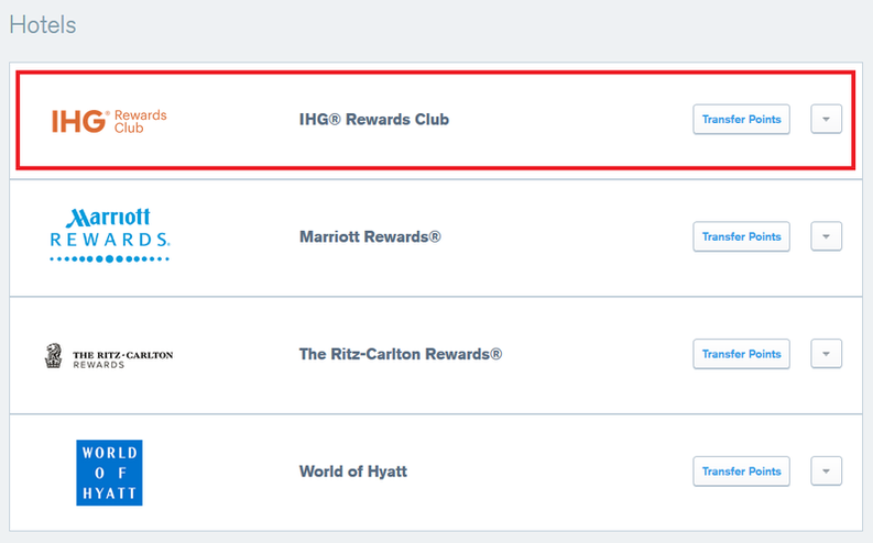 selecting IHG Rewards Club to transfer points