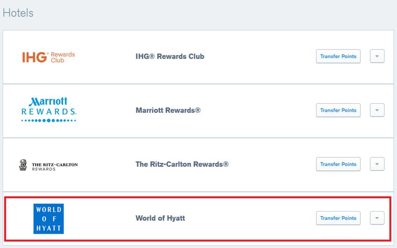 "Selecting ""World of Hyatt"" to transfer points"