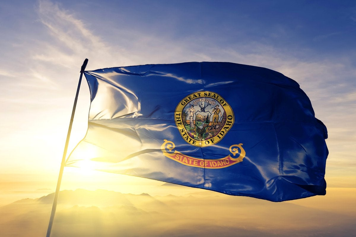 The Idaho state flag flying in front of a sunny sky.