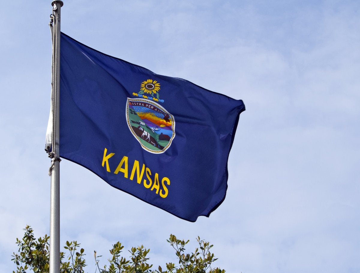 The Kansas state flag flying on a flagpole.