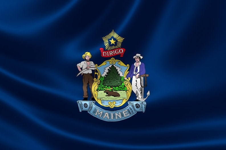 The state flag of Maine.