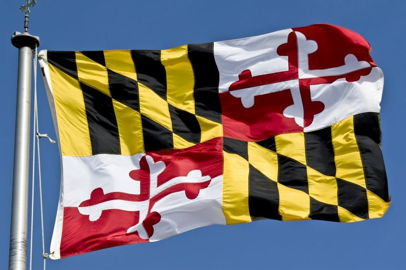 The Maryland state flag waving in the breeze.