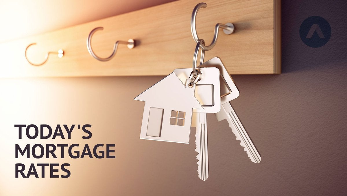 House keys hanging from a key hook with Today's Mortgage Rates graphic.