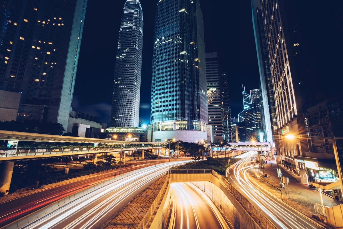 Bright city lights at nighttime.