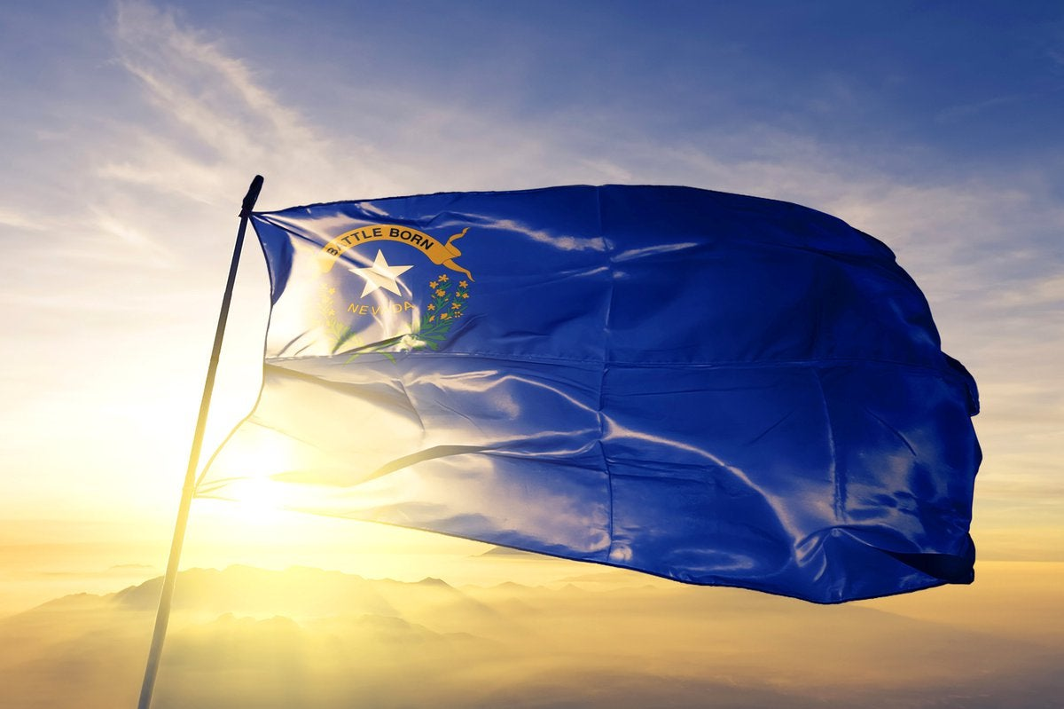 The state flag of Nevada flying in front of a sunny sky.