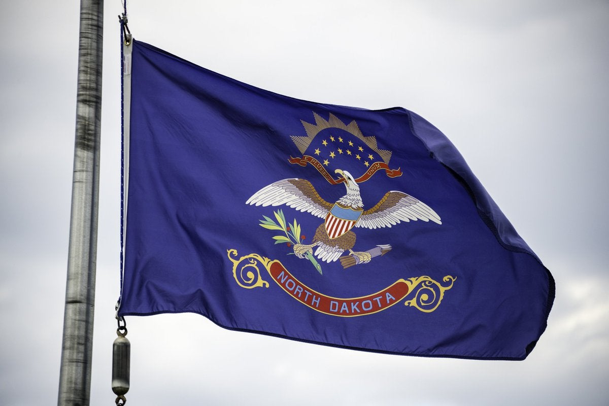 The North Dakota state flag flying on a flagpole.