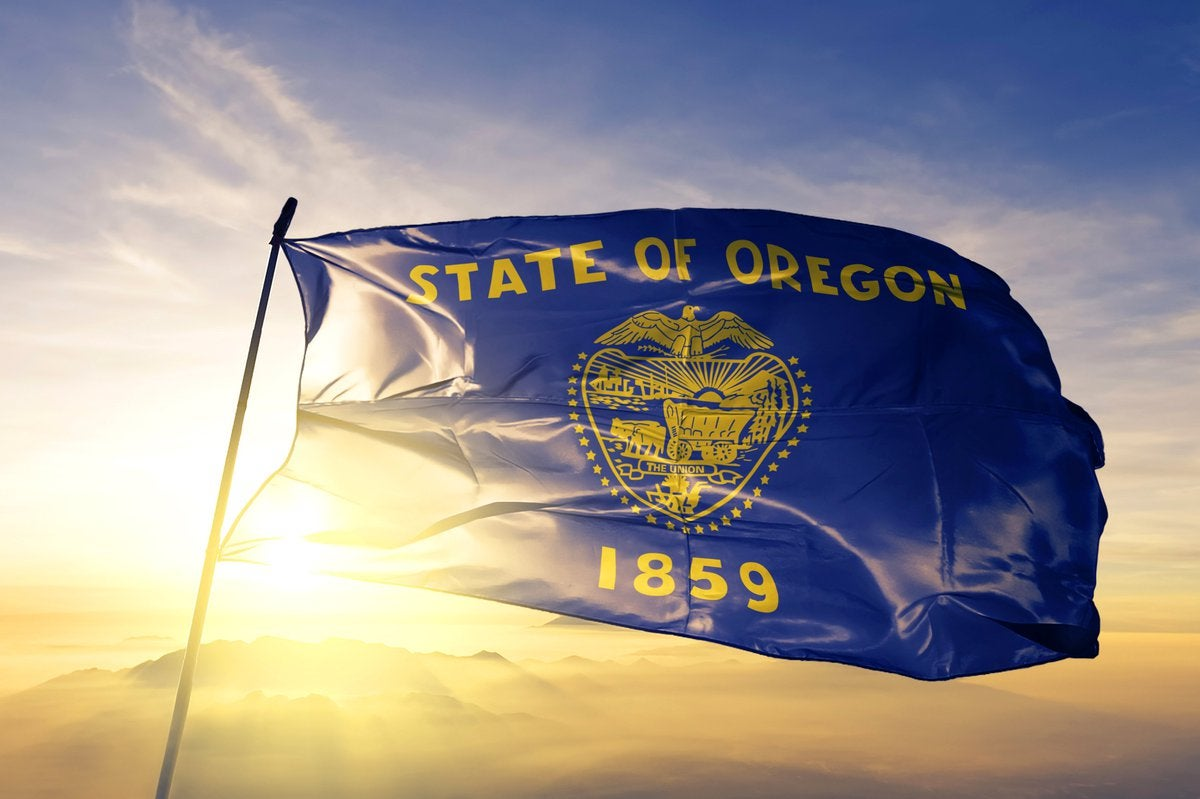 The state flag of Oregon flying in front of a sunny sky.
