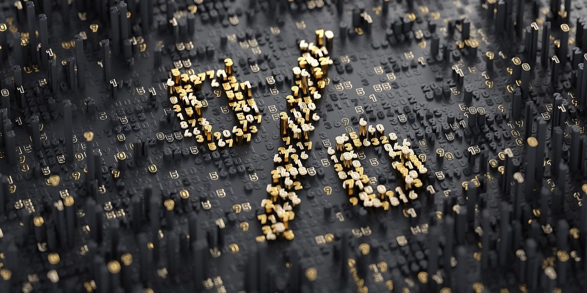A golden percentage sign made out of numbers.