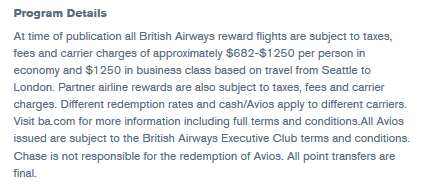 British Airways program details showing high fees for free flights