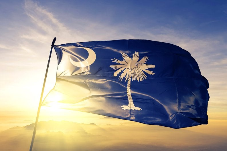 The state flag of South Carolina flying in front of a sunny sky.