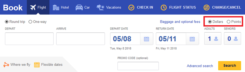"""searching Southwest flights with """"points"""" filter"""