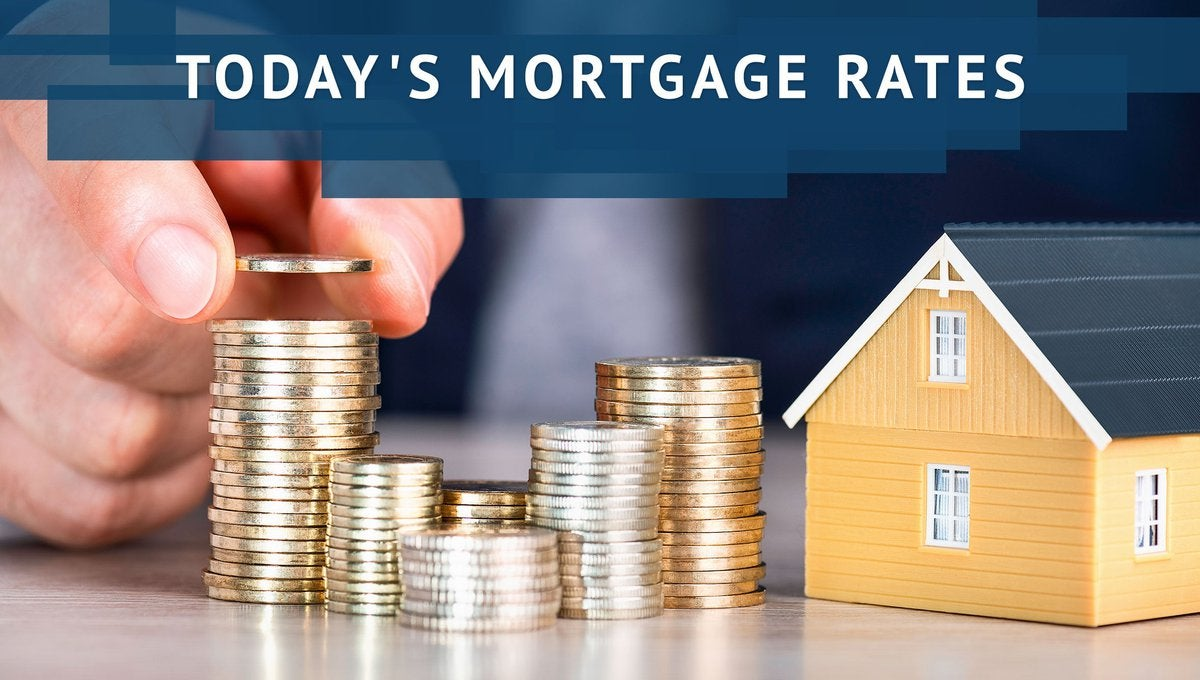 Person stacking coins next to a small model house with Today's Mortgage Rates graphic.