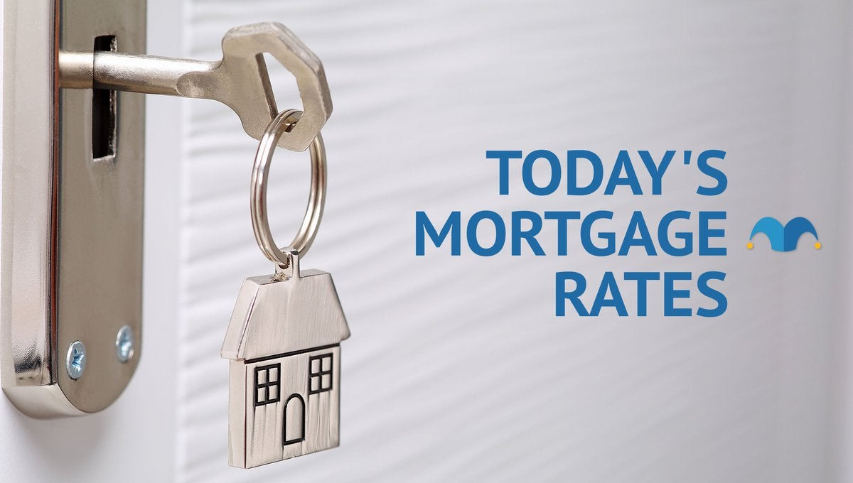 House key sticking out of a lock with Today's Mortgage Rates graphic.