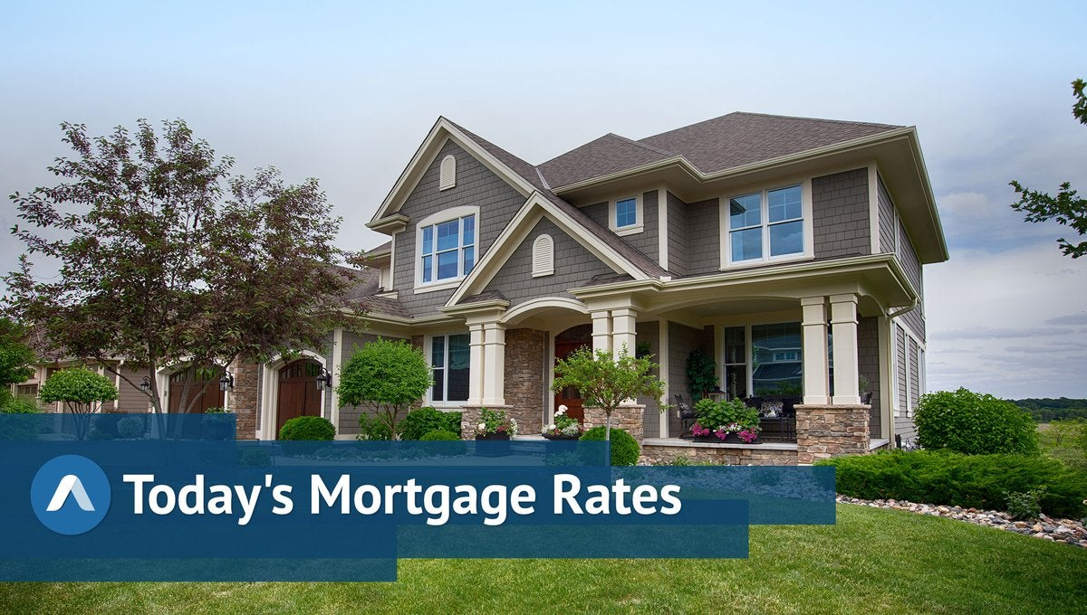 Large fancy home and lush lawn with Daily Mortgage Rates graphics.