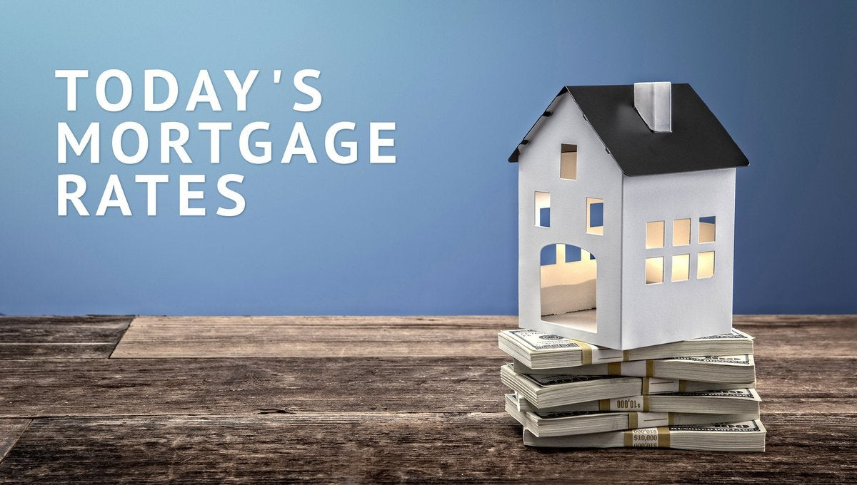Small, hollow model home sitting on top of wrapped stacks of cash with Today's Mortgage Rates graphic to the left.