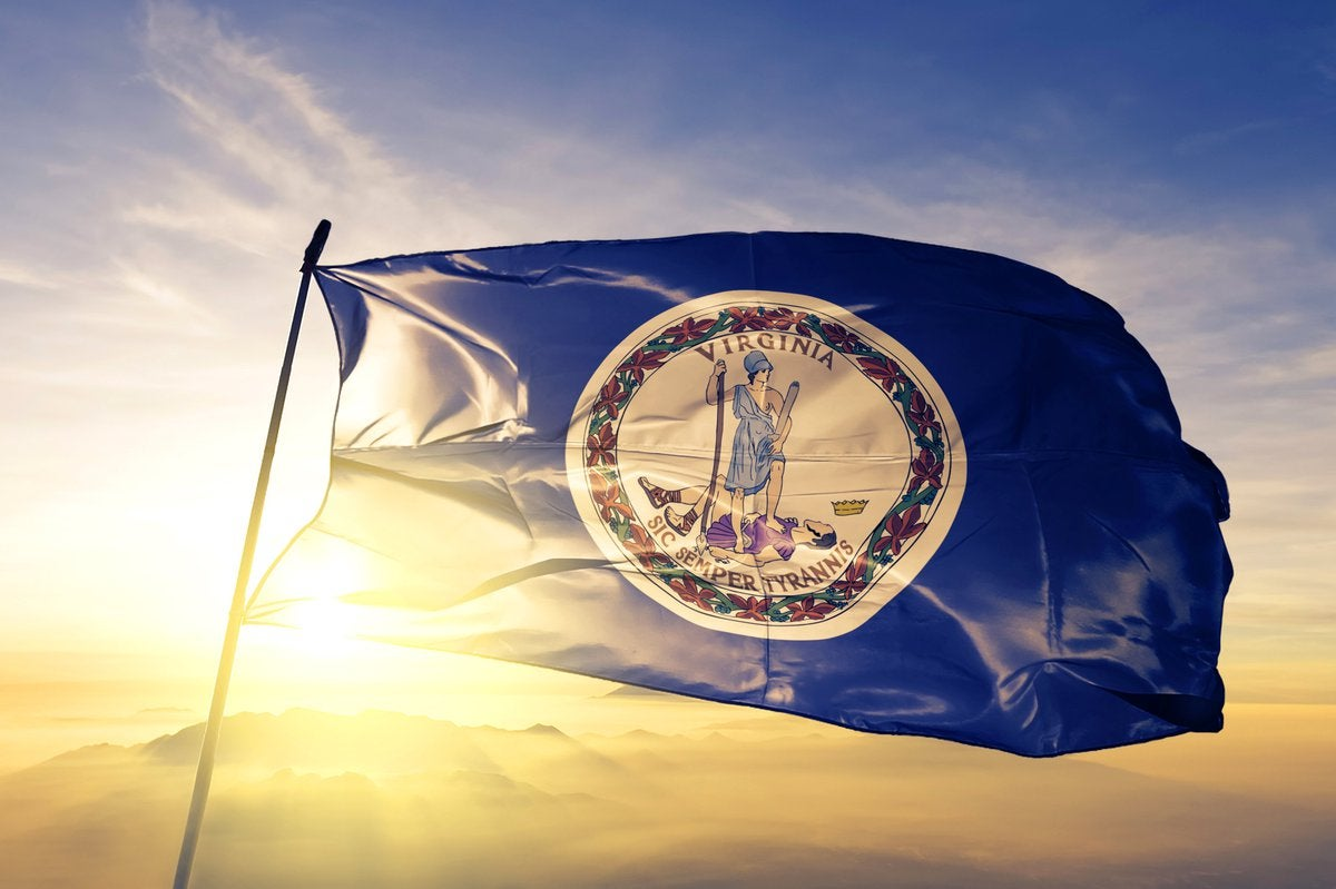 The Virginia state flag flying in front of a sunny sky.