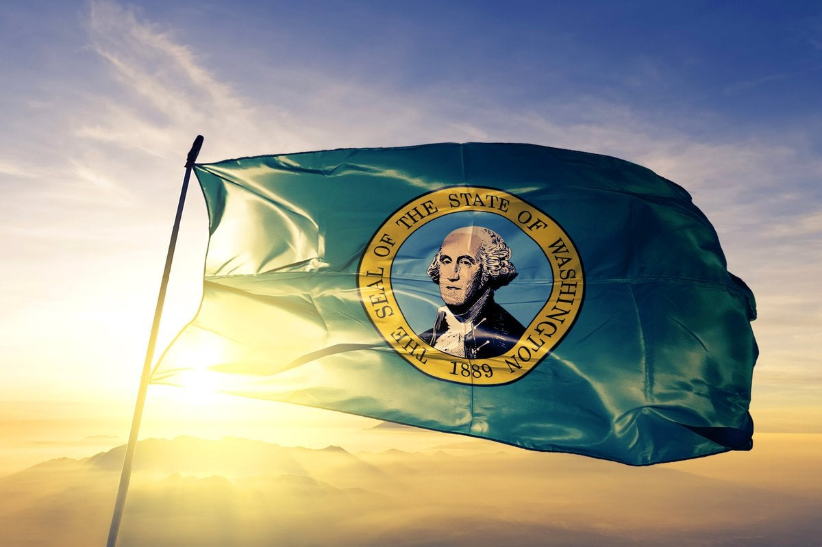 The state flag of Washington flying in front of a sunny sky.